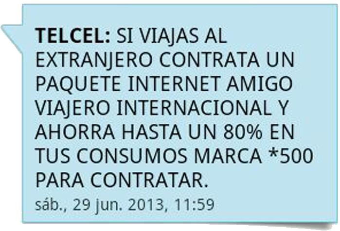 SMS de Telcel que te invita a contratar un paquete amigo viajero internacional y bla bla bla.