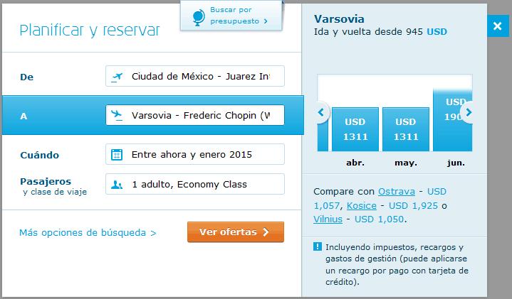 Precios de boletos de avión por KLM por mes (abril a junio).