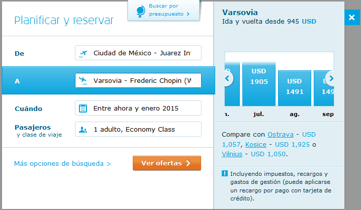 Precios de boletos de avión por KLM por mes (julio a septiembre).