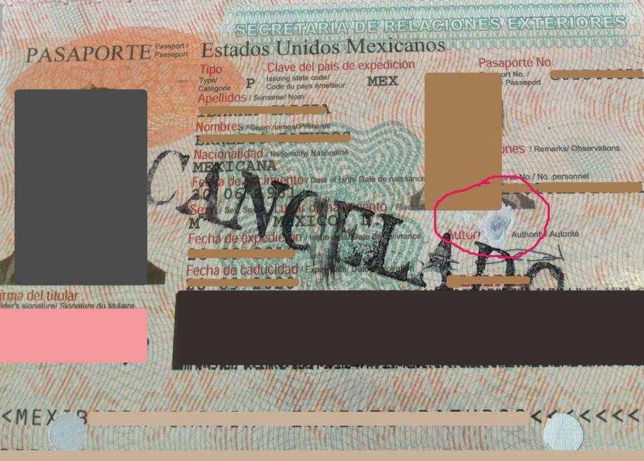 pasaporte dañado por rasgadura