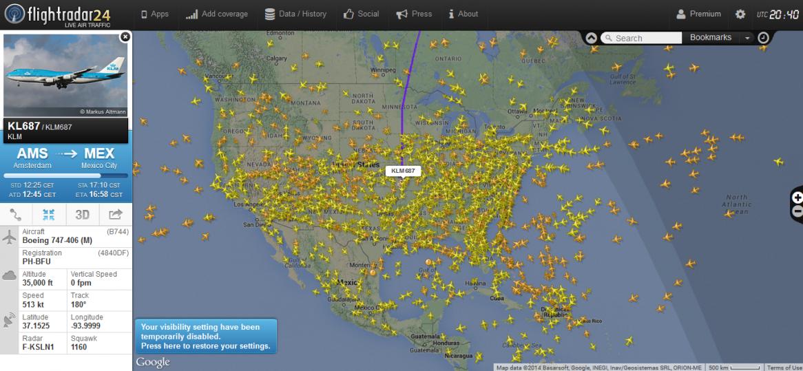 Rastreo de vuelo en tiempo real